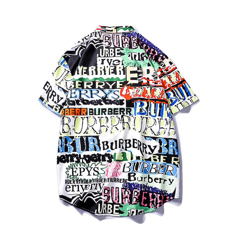 Новая летняя повседневная Уличная одежда мужская гавайская рубашка Для женщин высокое качество пляж печатных футболка с коротким рукавом хип-хоп японский уличная