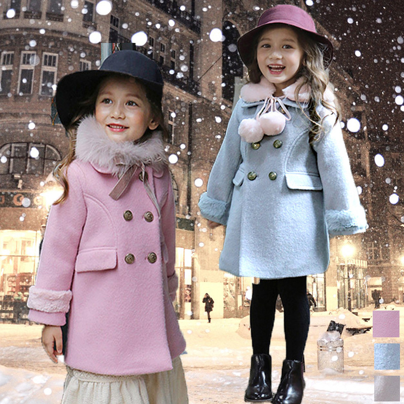 Thicken Baby Girls Wool Coats Clothing 2018 New Winter Cotton Princess Girls Outwear Kids Wool Sweet Children Clothing 3wb010 the new children s cubs hat qiu dong with cartoon animals knitting wool cap and pile