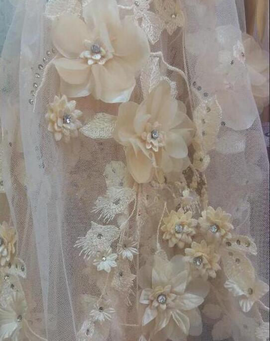 3d flower CiCi 3 701 embroidered Mesh Tulle fabric Factory price Nigerian lace fabric with crystal