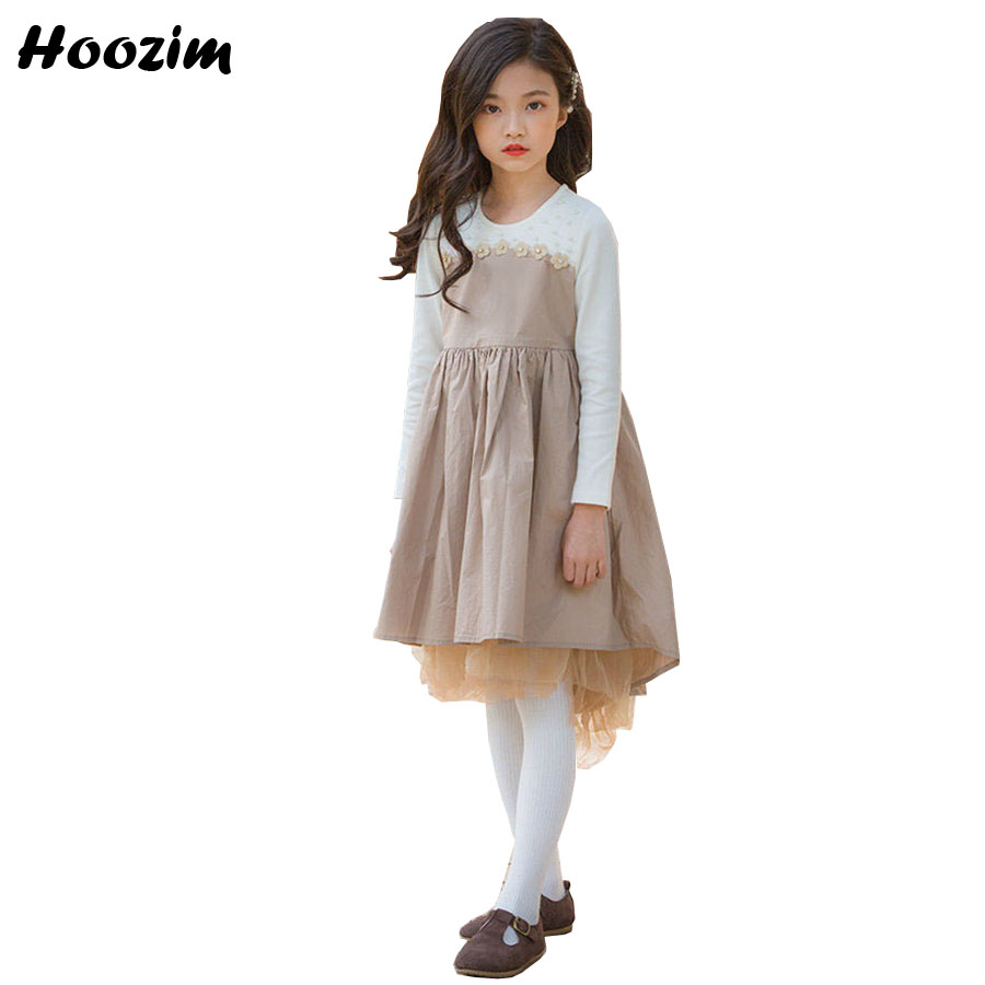 European Long Sleeve Dress For Girls 8 9 10 11 12 13 Age Princess Dresses Teenage Summer Patchwork  Flower Pearls Dress ChildrenEuropean Long Sleeve Dress For Girls 8 9 10 11 12 13 Age Princess Dresses Teenage Summer Patchwork  Flower Pearls Dress Children