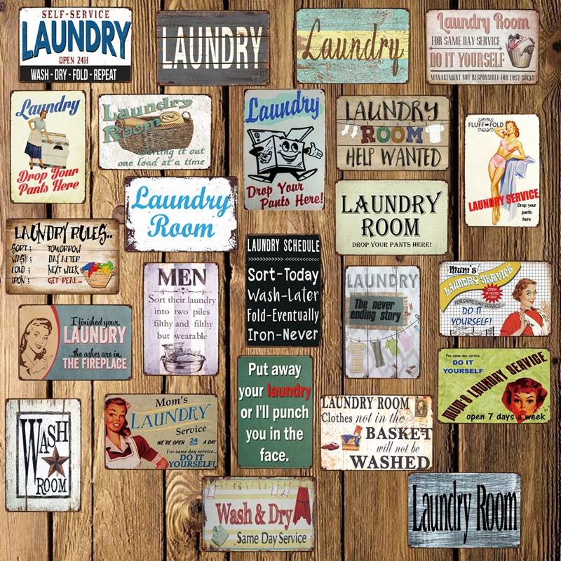 [ Mike86 ] Laundry Room Drop Your Pants Here Funny Metal Sign Home Bar Hotel Wall Painting Plaque Poster Party Bar Decor FG-242(China)
