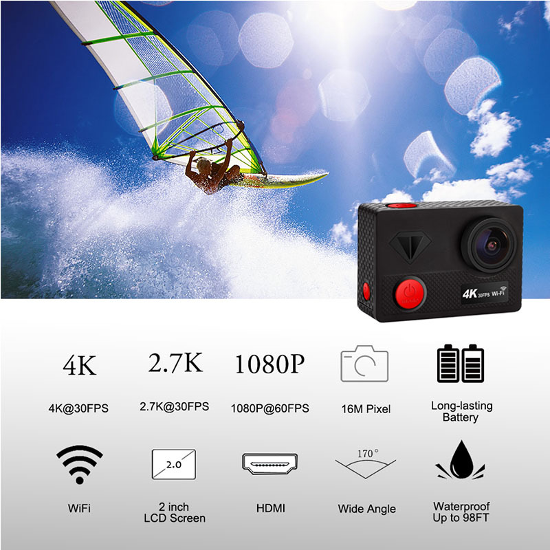 Sport caméra d'action 16MP wifi Ultra HD mini-caméra Sport 4 K/30FPS 1080 p/60fps 720 P/120FPS vidéo Sport Caméra sous-marine Étanche