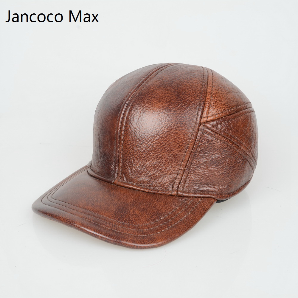 Jancoco Max + Tan & Black 2017 New Genuine Leather Baseball Caps Men Real Cowhide Leather Hats Warm Earflap Adjustable Top S3005 new top grade gift pure tan wooden type h chun tan mu shu h kuan