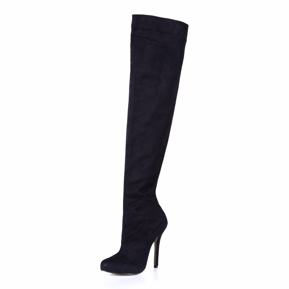 2016 Winter Black Suede Sexy Party Shoe Women Thin High Heels Mature Lady Over-the-Knee Boots Zapatos Mujer Plus Size 0640CBT-S2