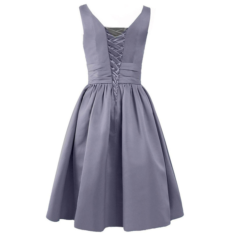 Satsweety Vlastní barva Čaj-délka V-Neck krátké Stain družičky - Šaty pro svatební hostiny - Fotografie 6
