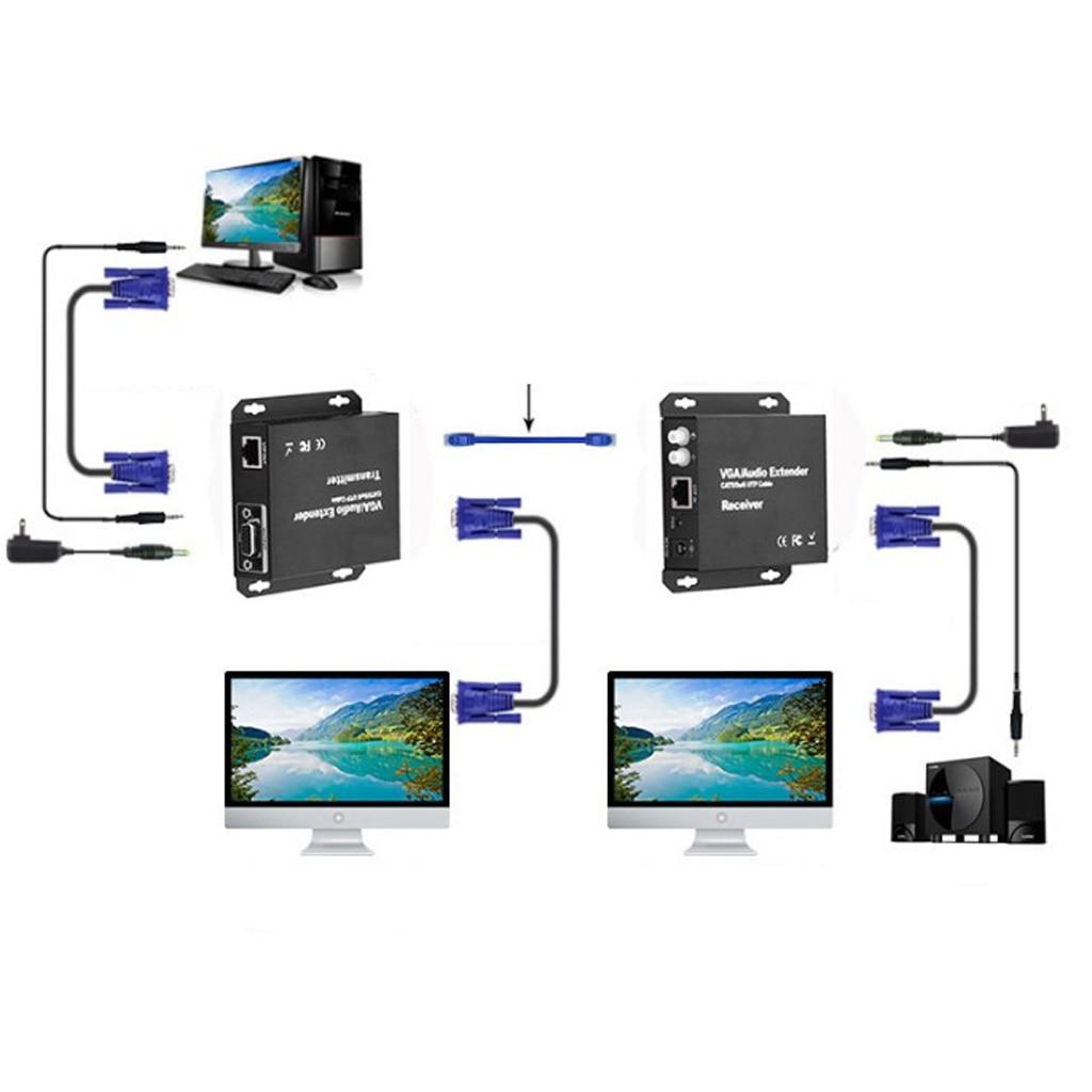 MagiDeal VGA vidéo Extender 200 m/656ft émetteur récepteur RJ45 Cat5e câble 1080 P - 4