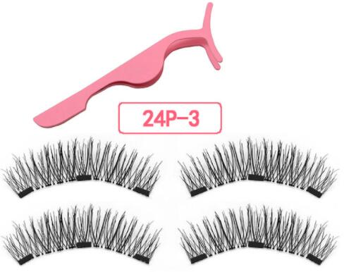 Magnetic Eyelashes With 3 Magnetic Magnets Lashes Natural False Eyelashes Magnet Lash With Eye Lash Applicator 24P-Z-3-T