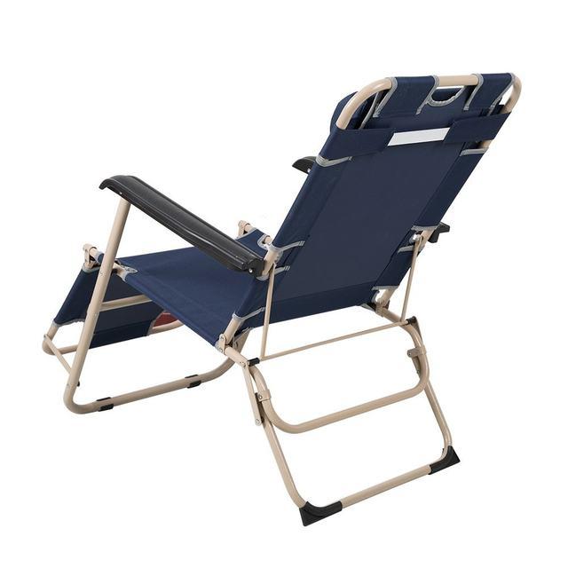 Outdoor Folding Sun Loungers Recliner Beach Chair Lounge Chairs Adjustable  Portable Garden Deck Chairs