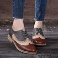 2016 Обувь Из Натуральной Кожи Женщин Башмаки Оксфорды Плоские Каблуки Круглого Toe Ручной Женщины Повседневная Обувь Овчины Плюс Размер 42