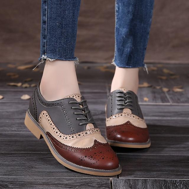 7ac923d046 2016 Cuero Genuino Zapatos de Mujer Brogues Oxfords Planas de los Talones  de Punta Redonda Hecha