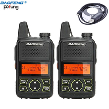 2 PCS BAOFENG T1 MINI Two Way Radio BF-T1 Walkie Talkie UHF 400-470mhz 20CH Portable Ham FM CB Radio Handheld Transceiver+cable