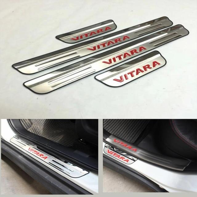 For Suzuki Vitara 2015 2016 Door Sill Accessories Stainless Door Sills Scuff Plate Gaurds Pedal Protector Car Styling Stickers