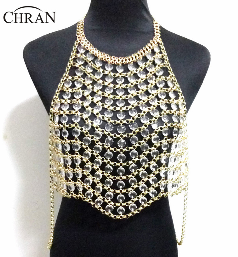Chran New Sexy Stunning Women Harness Body Belly Waist Bikini Beach Vest Statement Necklace Slave Chain Necklace Halter Jewelry yaruie women s multi layers sexy body belly waist chain bikini sexy beach crossover tassel