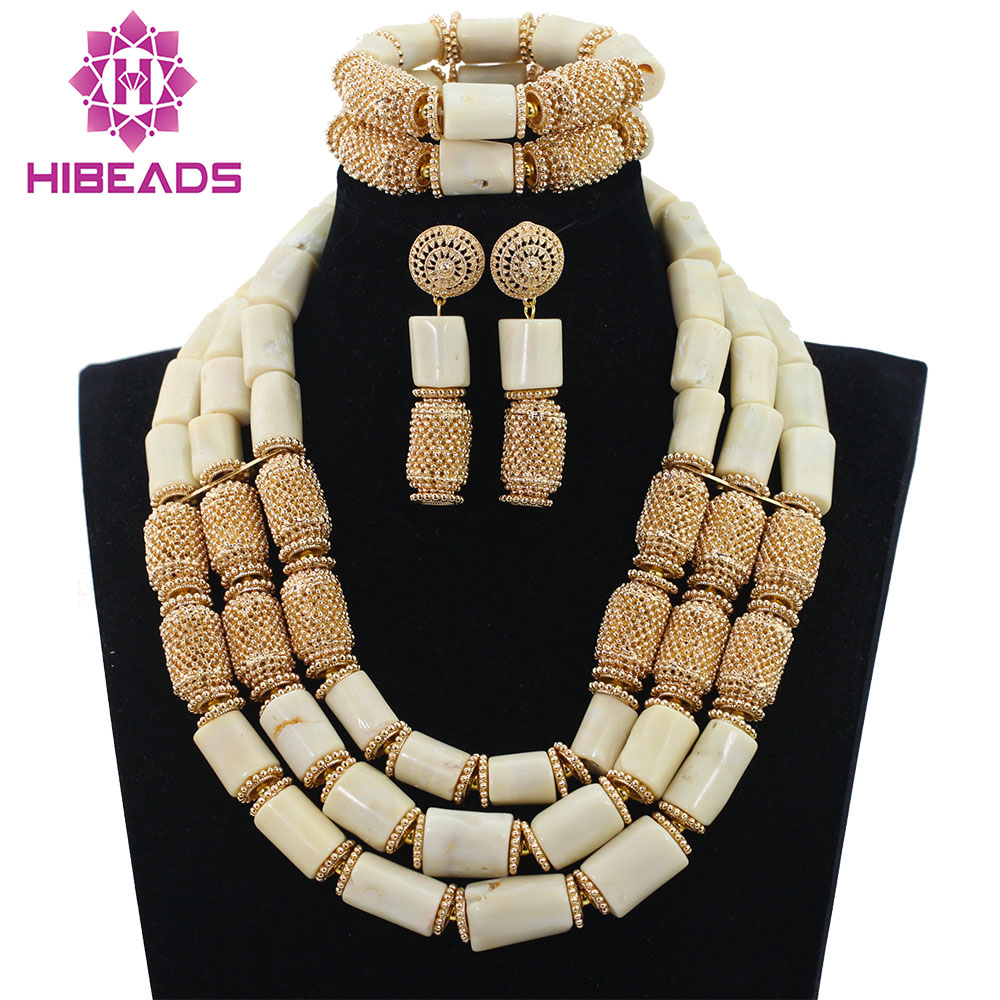 цена на Graceful White Wedding Coral Beads Jewelry Sets for Women Gold Beads Accessories Bridal Statement Necklace Set QW964
