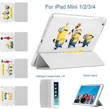 MTT For IPad Mini 123 Tablet Case Print Cute Minions PU Leather Flip Stand Cover For IPad MIni 1 IPad Mini 2 IPad Mini 3 Cases