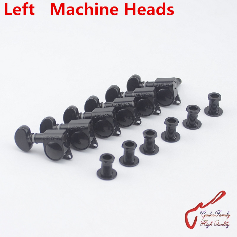 1 Set 6 In-line Genuine Grover Left Hand Guitar Machine Heads Tuners 1:18 Black ( without original packaging )