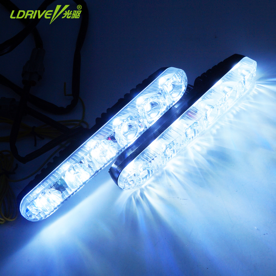 2Pcs/lot  Universal Car Running Lights Fluorescent Light LED DRL Super Bright White With Yellow Turn Signal Light 6 LED 9pcs lot t8 led tubes lights 4ft super bright 28w g13 fluorescent tube led bulb energy saving for existing wall lamps light