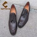 De lujo para hombre cosido goodyear zapatos de cuero marrones borla zapatos de seguridad zapatos hombre mocasines para hombre zapatos elegantes de oficina masculino oxford