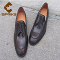 Luxury mens goodyear welted leather shoes brown tassel loafers mens elegant shoes male office safety shoes zapatos hombre oxford