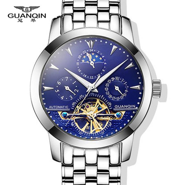 Guaranteed 12 month Tourbillon watches luxury men mechanical watches Brand GUANQIN sapphire Waterproof 100m fashion men watches
