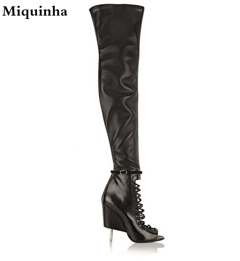 Unique Design Women Fashion Open Toe Black Leather Over Knee Strange Heel Gladiator Boots Cut-out Stiletto Heel Long Boots