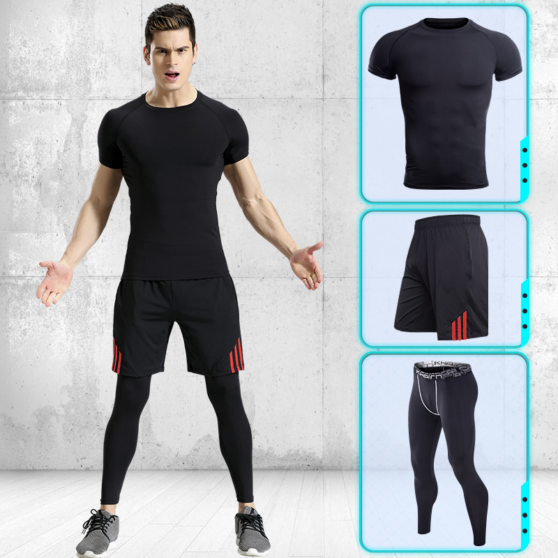 Image 3 - Men Running Pants T shirt Tights Shorts Black Stitching Lines Quick Dry Yoga Sportswear Sport Set Fitness Gym Basketball Jerseys-in Running Sets from Sports & Entertainment on AliExpress
