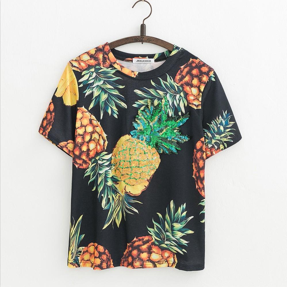 HTB1QDvcQVXXXXcbaFXXq6xXFXXXB - Top Hot Sequined Print Pineapple Women t shirt Short Sleeve