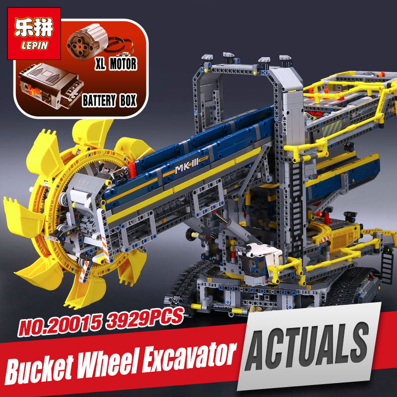 DHL LEPIN 20015 Technic Bucket Wheel Excavator Model Educational Building Kit Blocks Brick Compatible legoing 42055 for children 196pcs building blocks urban engineering team excavator modeling design