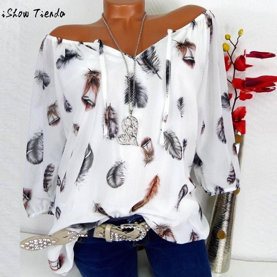 Autumn And Summer Women   Blouse     Shirts   Half Sleeve Feather Printing V-neck Streetwear Clothing Harajuku Fashion   Blouses   5XL#GHC