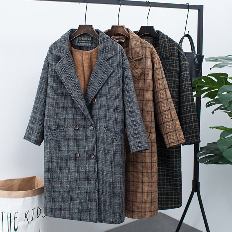 Women's Check Wool And Velvet Jacket Double-breasted Woolen Coat Korean Version Of The Large Size Loose Autumn And Winter New To Ensure A Like-New Appearance Indefinably