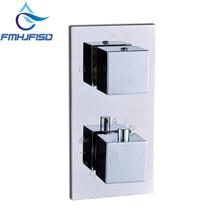 Термостатический 2 способа ванной Душевой клапан смеситель горячей и холодной хромированный латунный душ