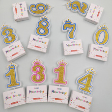 1Pc Glitter Gold Pink/Blue 1 2 3 4 5 6 7 890 Creative Lucky Crown Number Candle for Kids Birthday Party Cake Candles Decorations