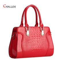 fashion alligator women bag high quality patent leather shoulder crossbody bags luxury zipper handbag red clutch m615