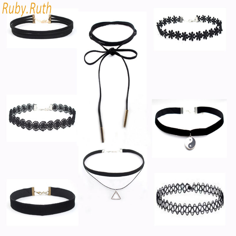 8 Pcs Fashion Chokers Set Black Lace Velvet Chokers Necklace For Women Harajuku Ribbons Necklaces Flower Lips Charms jewelry