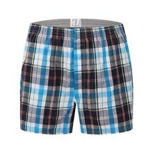 Boxer en coton tissé pour homme, sous-vêtement de marque de haute qualité, 100% à carreaux, fil peigné, ample et respirant