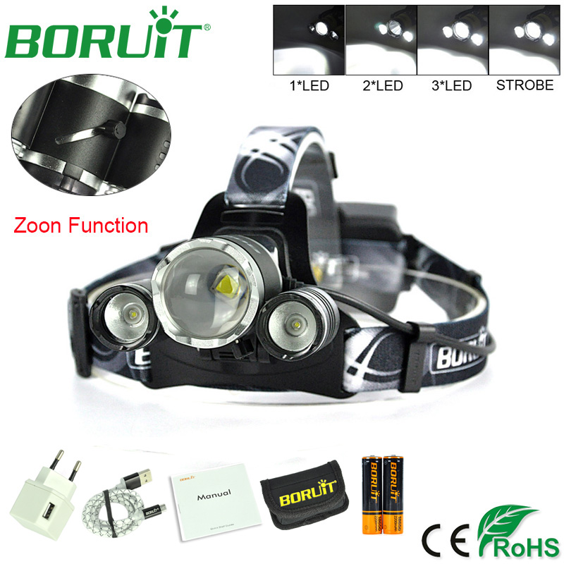 BORUiT 5000lm XM-L2 LED Headlamp Zoom 4-Modes Headlight USB Rechargeable Tactical Flashlight Torch Light Fishing Hunting Lamp boruit 1000lm xm l2 led headlight 4 mode zoom headlamp usb rechargeable head torch camping hunting flashlight 18650 battery