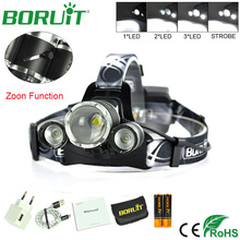 Boruit 5000LM 3 XM-L2 LED Headlamp Zoom 4-Modes Headlight USB Rechargeable Tactical Flashlight Torch Light Fishing Hunting Lamp