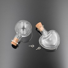 10pieces big heart ball shape Empty glass bottle with cork vial pendant fashion globe vials Charms jewelry