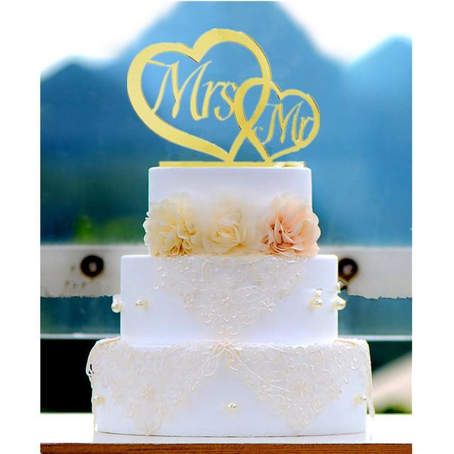 Simple Design Double Heart Acrylic Wedding Cake Topper Mr & Mrs ...