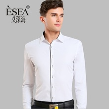 new arrival 2017 high quality classic twill business men's shirts long sleeve turndown collar plus size 5xl dress shirt