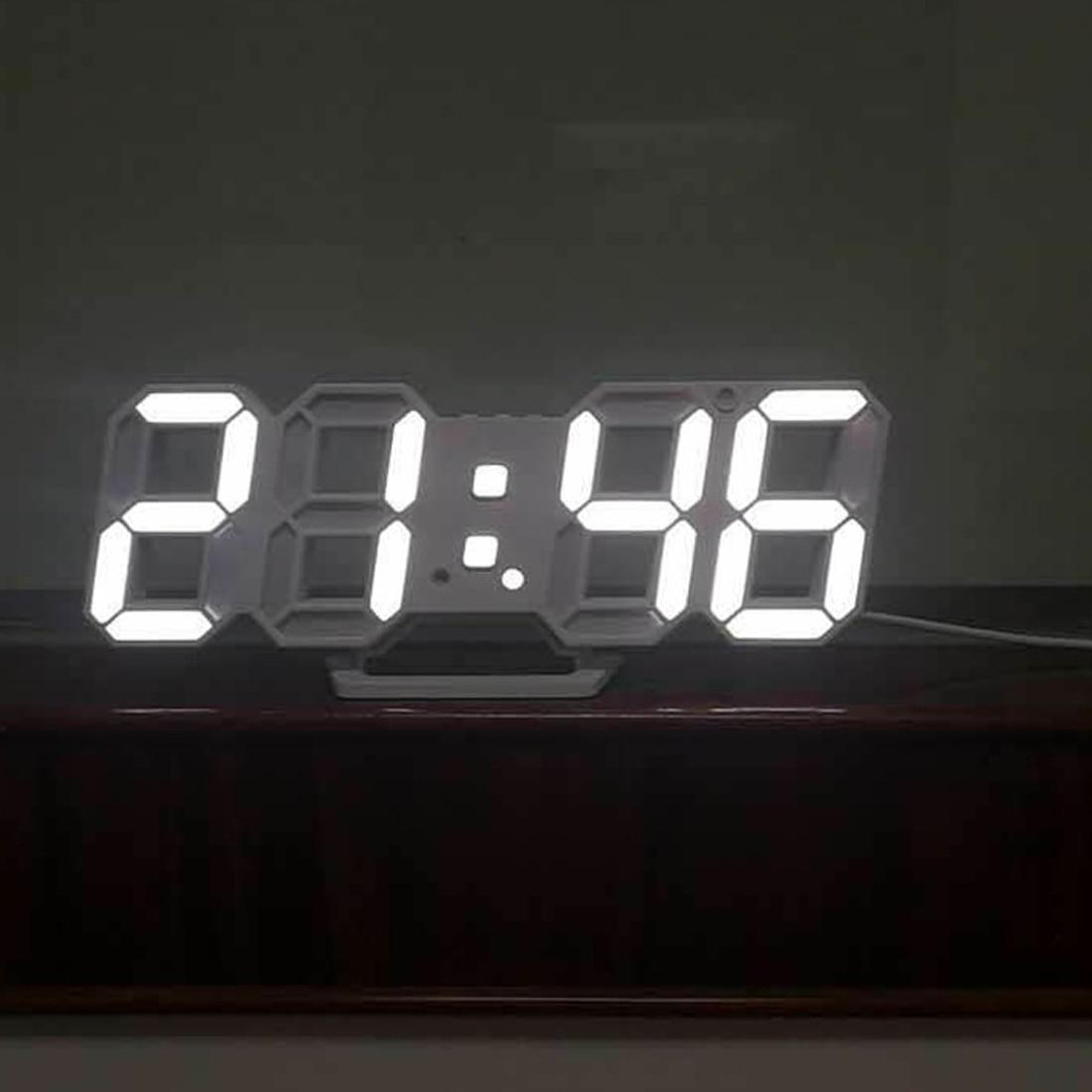 Горячие Современные Настенные часы цифровой светодиодный настольные часы 24 или 12 час Дисплей часовой механизм сигнализации Настольные сиг...