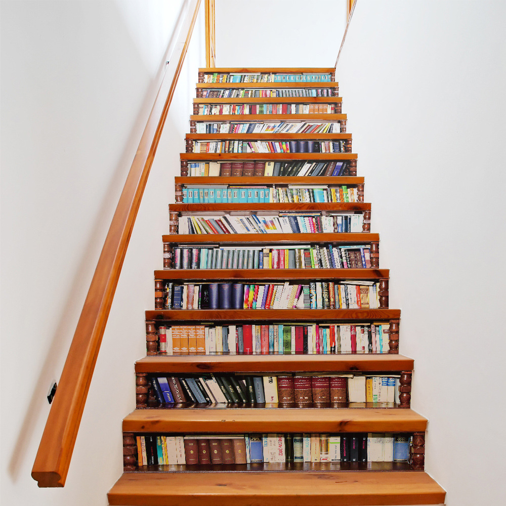 13Pcs Creative DIY 3D Bookcase Stair Stairway Sticker Library Bookcase Pattern for House Stairs Decoration Wall Stickers