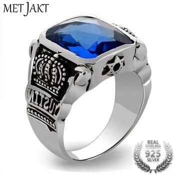 MetJakt الأزرق توباز خواتم خواتم التاج خمر الصلبة خاتم فضة 925 لمجموعات مجوهرات رجالية رجالية