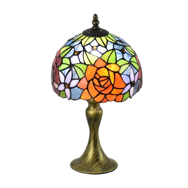 Tiffany Style Table Desk Lamps 8inches Roses Accent Stained Glass