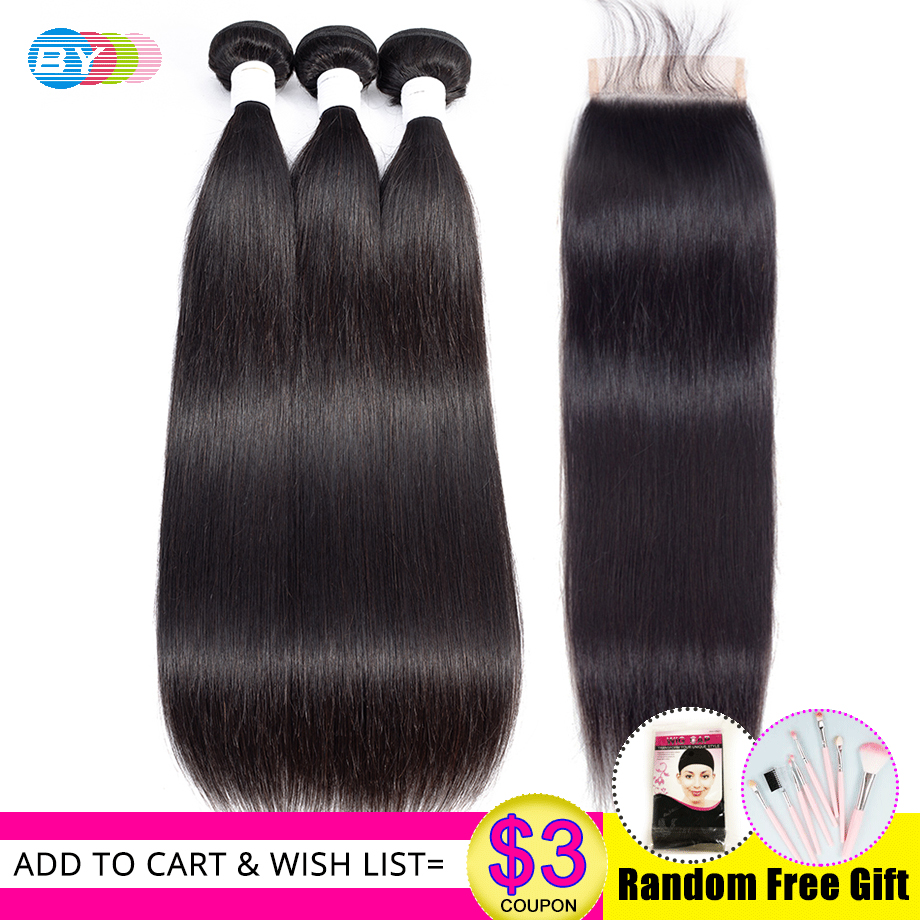Straight Hair Bundles With Closure Human Hair Bundles With Closure Remy BY Hair