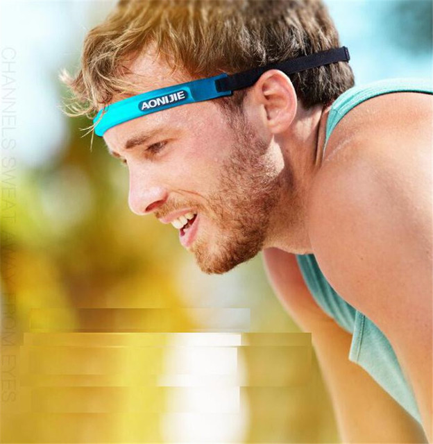 AONIJIE Women Men Sports Sweatband Silicone Breathable Quick Dry Fitness Yoga Hair Bands Gym Guiding Belt Sweat Head 2