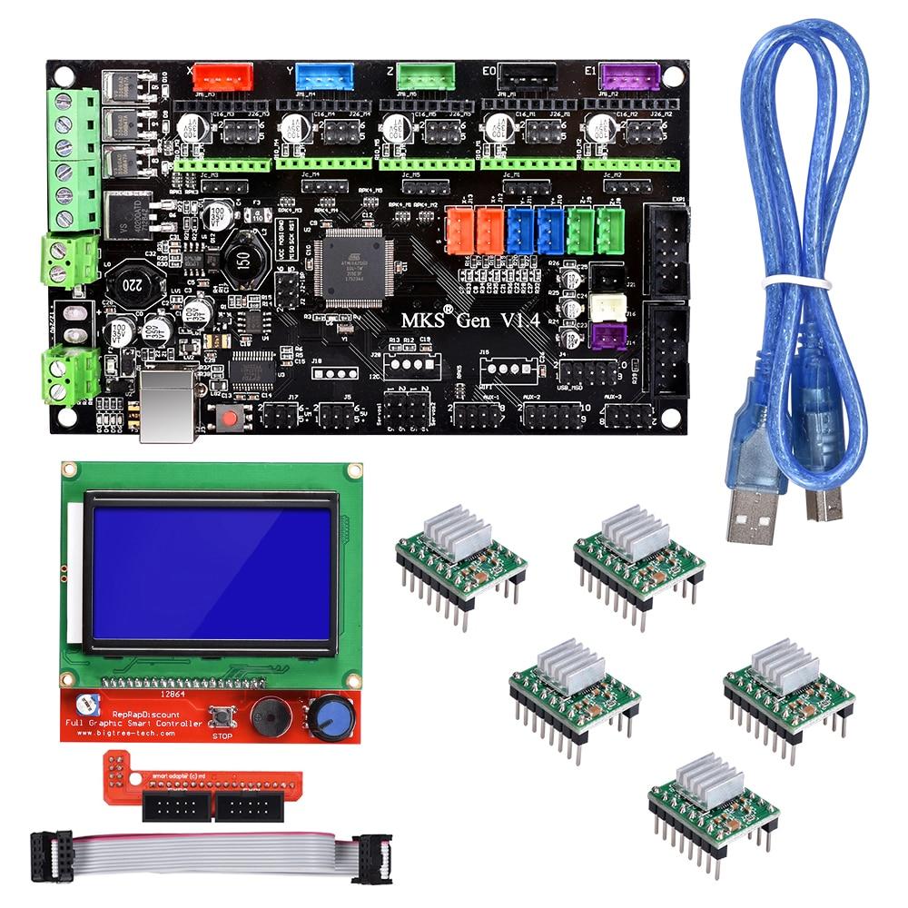 BIQU Bigtreetech MKS Gen V1.4 Control kit con 12864 pantalla LCD TMC2130 TMC2208 A4988 DRV8825 paso a paso motor