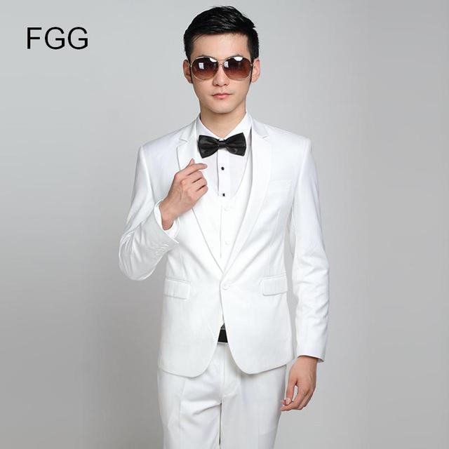 Marque de mode Marié Blanc De Mariage Costumes Slim Fit Un Bouton smoking  Meilleur Homme Costume 9c9a48b3f77