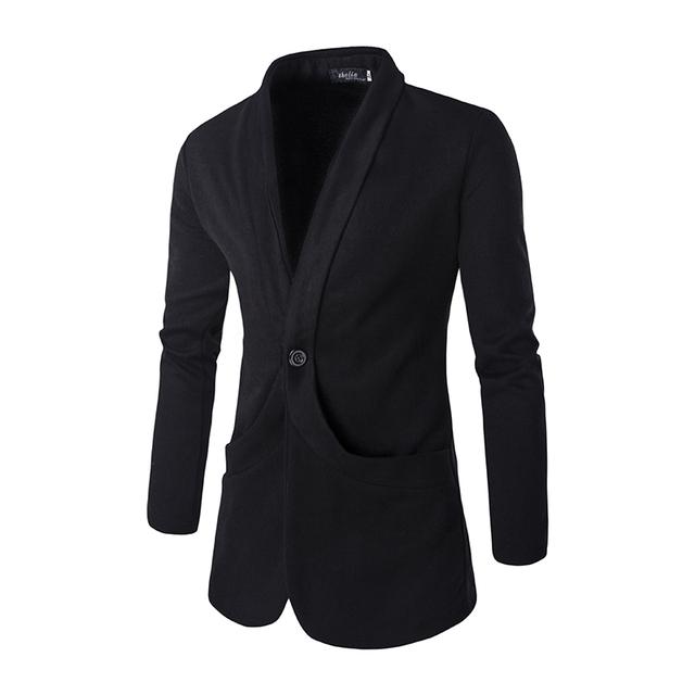 Mens Blazer Padrão 2016 Nova Slim Fit Manga Comprida Vestido De Noiva Preto Blazer Jackete X59 Bolso Decoração Marca de Roupas Casuais