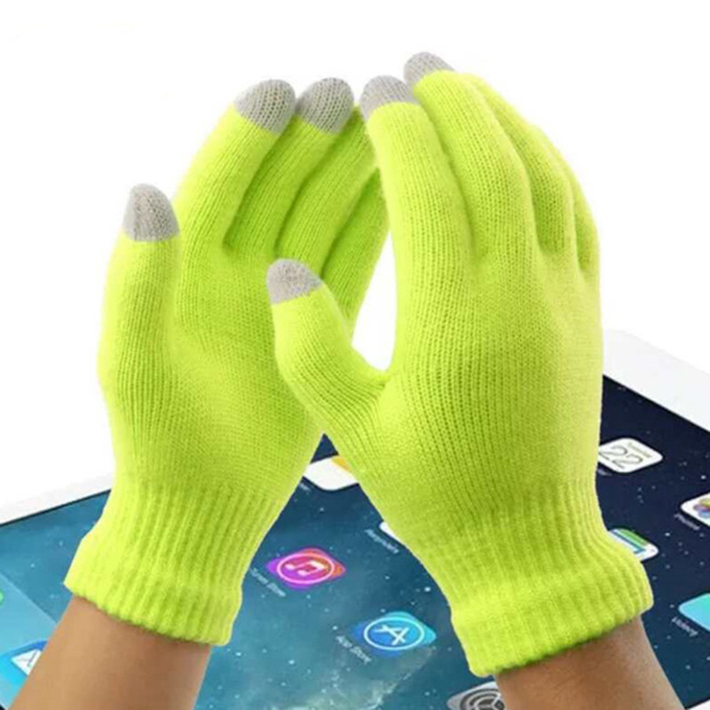 Female Winter Autumn Warm Cute Touch Screen Acrylic Stretch Knit Gloves Men Women Fashion Full Finger Mittens Wool Gloves B51
